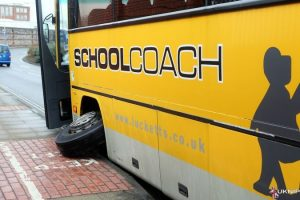school coach loses front wheel causing traffic chaos in portsmouth