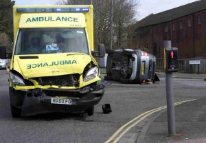 woman rushed to hospital after ambulance answering 999 call crashes with vehicles on busy southampton road