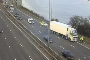 major motorway lane closed after lorry collision in portsmouth