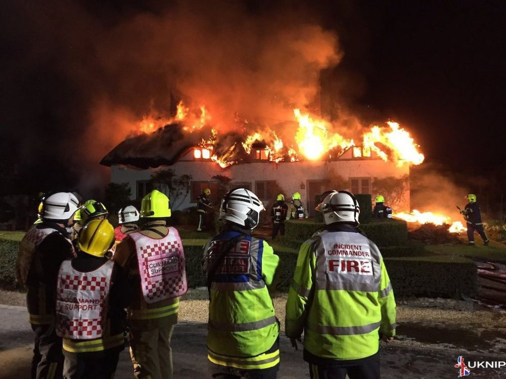 a 1 5 million thatched property gutted by a huge fire leaving person in hospital in petersfield