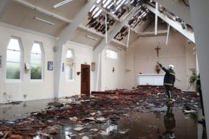 fire crews battle church blaze in hartley wintney