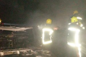 fire crews battle fire with gas cylinders in romsey