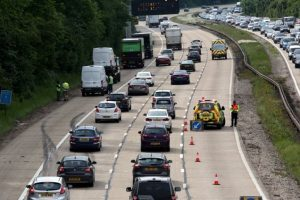 one lane closed on the m27 after van crashes into crash barrier