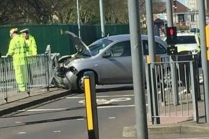 road closed after collision in portsmouth