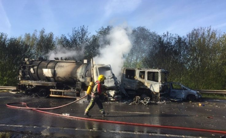 tanker hits fire truck in aston on trent