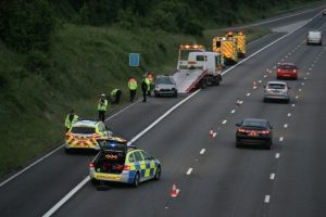 car ploughs into grass verge on m3 motorway in basingstoke