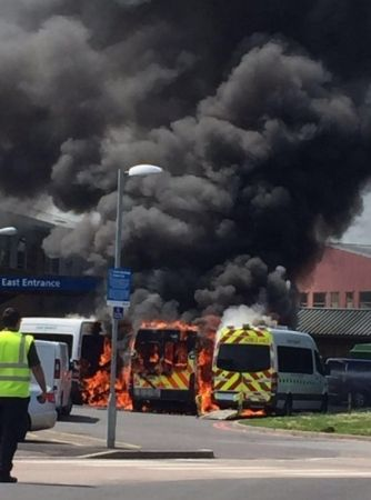 east surrey hospital catches fire after ambulance burst into flames