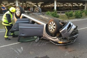 lucky escape for driver after car rolls on roundabout in fareham