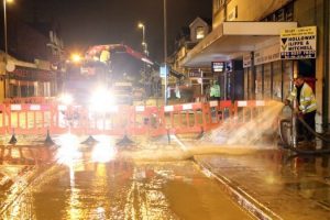 major road closed after water main burst in portsmouth