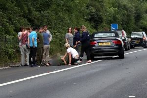 one hurt after three car collision causes traffic chaos on the m3