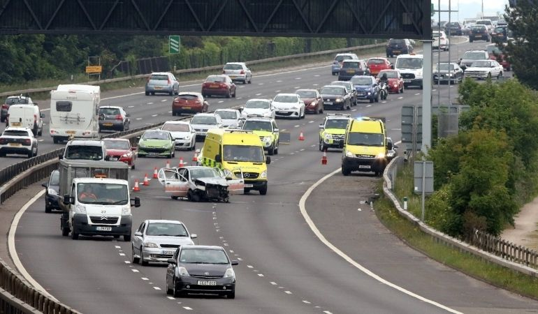 Traffic Chaos after collision On A27 in Portsmouth, UKNIP