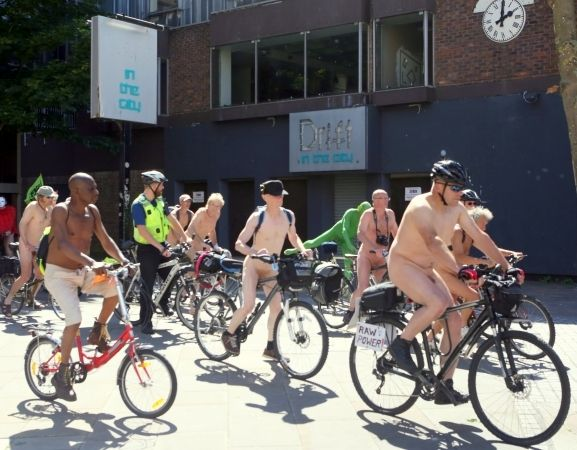 cyclists bare all in portsmouth protest over oil and cycle safety