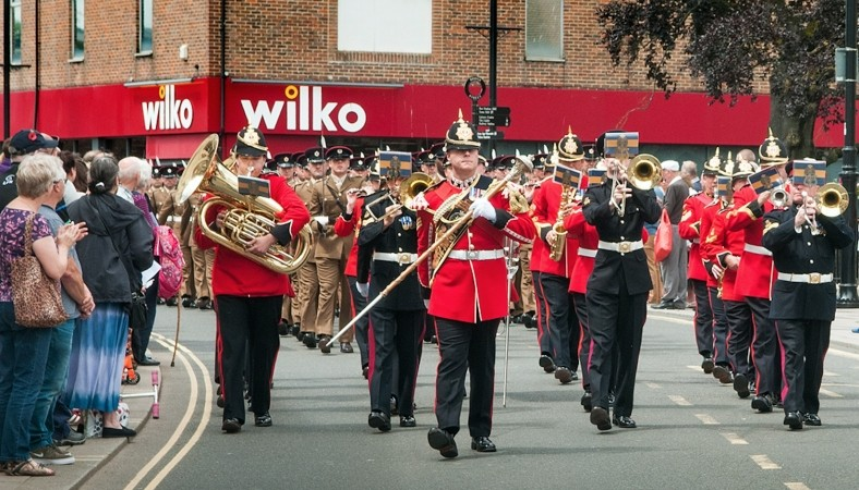 Hundreds Of People Turned Out To Watch Troops From Three Military Regiments March Through Andover