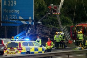 police appeal for witnesses after tipper truck crash on m3 near basingstoke