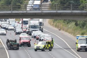 police close m27 eastbound after 4x4 flipped on it roof