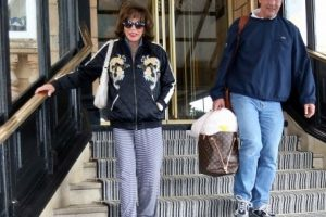 queen of film joan collins filming at the queen hotel in portsmouth