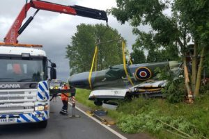 spitfire crashes on a3 whilst on route to the isle of wight