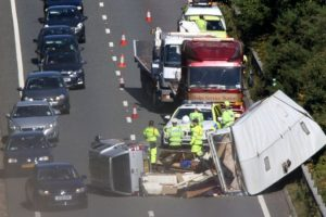 a31 traffic chaos after caravan roll over blocks two lanes