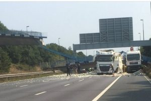 bridge crashes down on to m20 motorway
