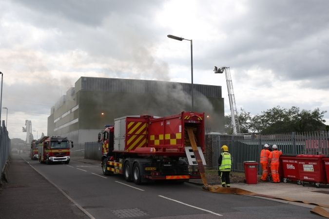 Fire Crews Pump Water From The Sea As 100 Emergency Service Personnel Tackle  Recycling Centre Fire In Marchwood