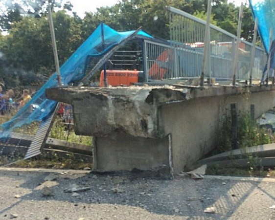 motorcyclist injured after the bridge collapsed onto the m20 motorway