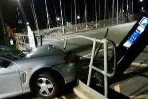 driver flees scene after car ploughs into railing and parking meter narrowly missing two men on shanklin seafront
