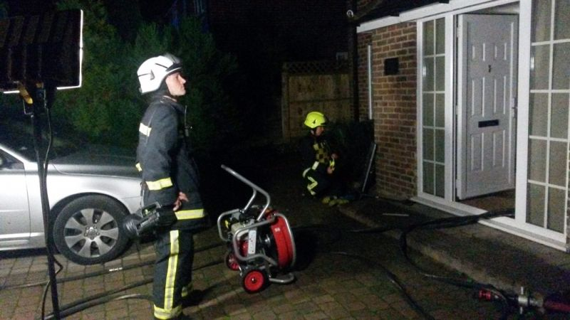 family saved from house blaze by smoke alarms