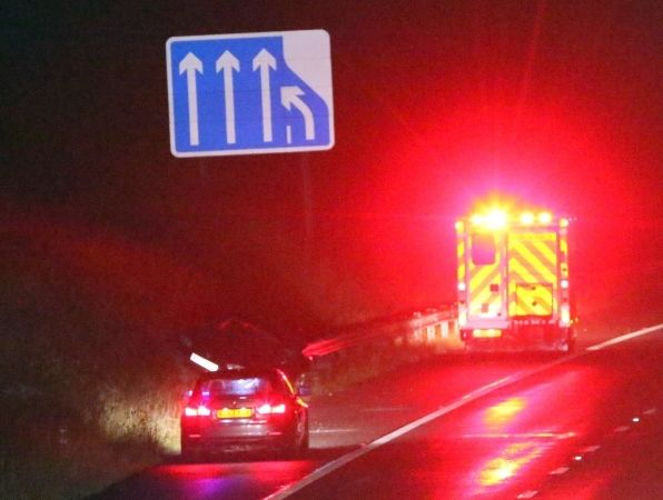 Sports Car Spins On M27 Carriageway As Flash Flood Hits The South Coast