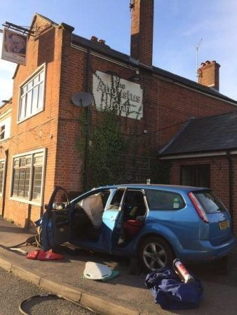 usar team called after car ploughs into pub in fordingbridge