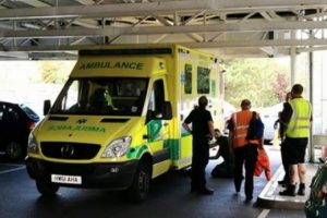 ambulance answering emergency call gets stuck in sainburys