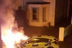 arson attack on police car and four cars torched in gosport