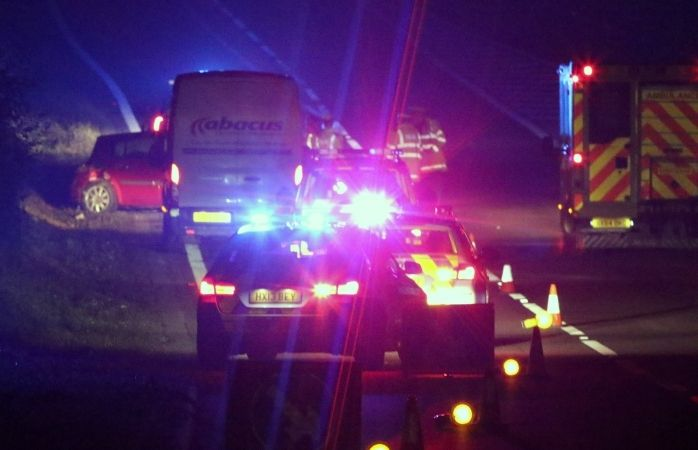 police close m3 motorway junction after car leaves carriageway in winchester