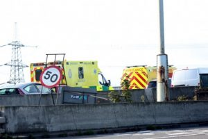redbridge causeway blocked after collision