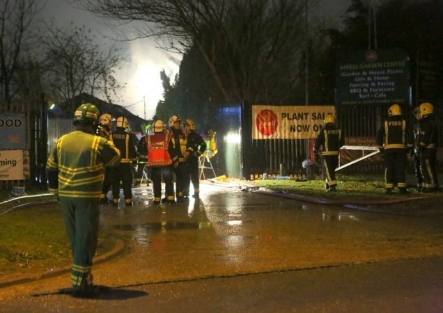 100 firefighters tackled fire at a garden centre near heathrow airport