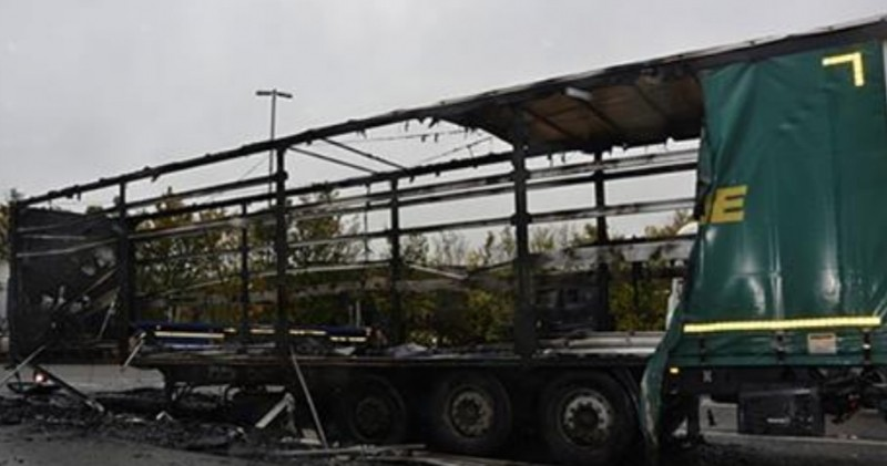 driver escapes injury after arson attack on lorry trailer