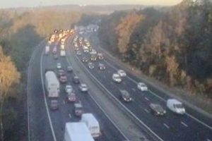 five vehicle collision on the m27 westbound closes motorway