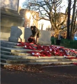 Low Life Scum Attack And Trash  Poppy Wreaths In Southampton