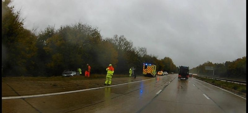 Lucky Escape For Driver After Car Leaves M27  Motorway In Southampton