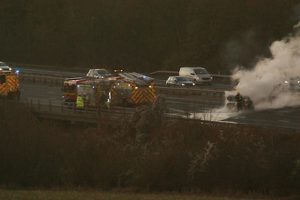 m3 closed following car fire near basingstoke