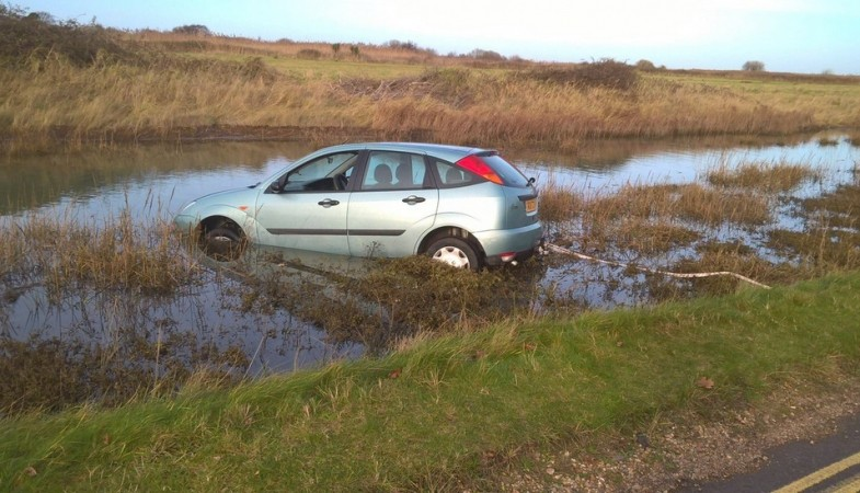 driver escapes serious injury after boxing day dip in calshot hampshire