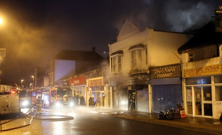 Fifty Fire Fighters Tackle Blaze In Southsea