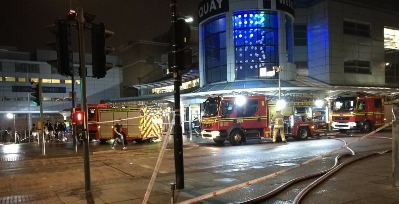 Fire Crews Called To Fridge Fire At West Quay Shopping Centre  In Southampton