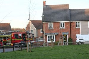 garden fire spreads to new build house in basingstoke