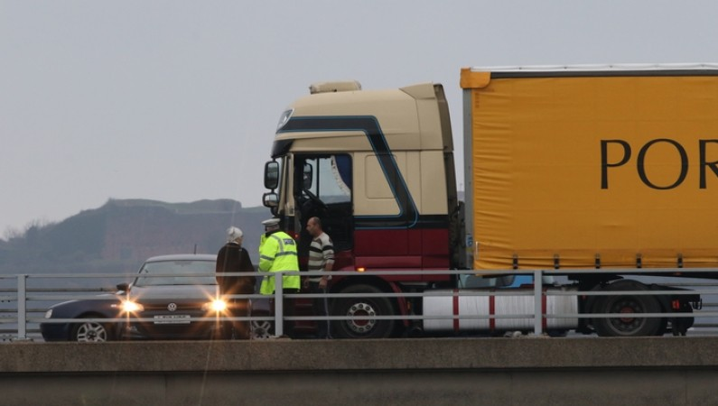 lorry crashes into car causing lunch time tailbacks on a27 near hilsea