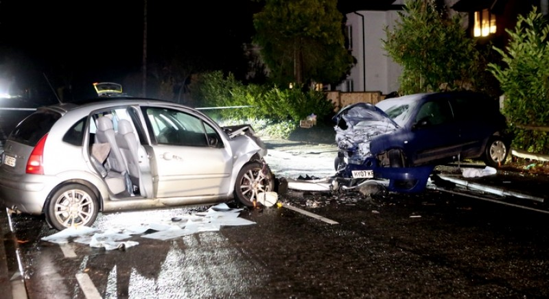 police close road in hampshire village after a two vehicle collision head on life changing collision
