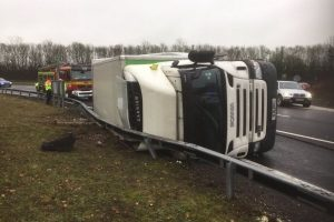 overturned lorry blocks m3 southbound junction 9