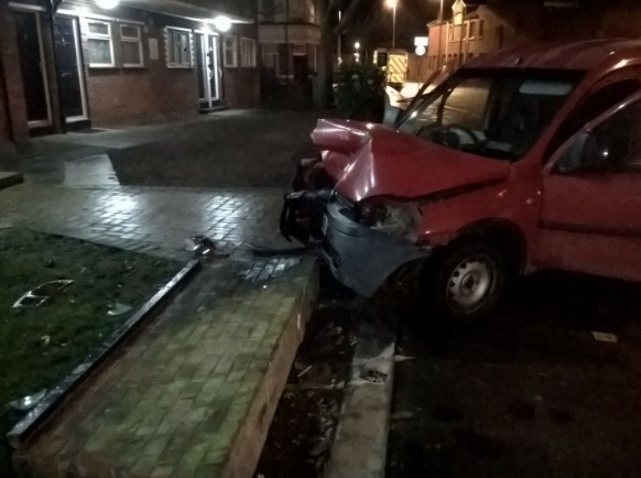 Van Hits Traffic Island Ploughing Into Portsea Flats Wall
