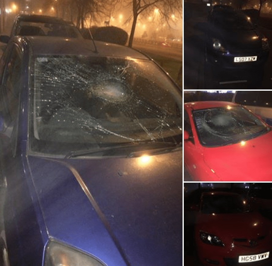 Breaking:  Mindless  Vandals Go On Rampage  Causing  Orgy Of Damage  To Vehicles In  Portsmouth