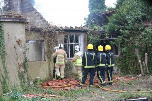 builder bonfire fire sets fire to roof of house