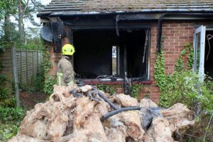 devastating images show the destruction caused as camberley bungalow destroyed by fire